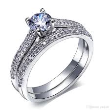 rings gold white images Bridal wedding rings set 18k gold ring white gold plate party jpg