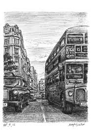 london taxi and bus at haymarket artwork by stephen wiltshire