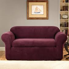 purple sofa slipcover sure fit stretch metro box cushion sofa slipcover u0026 reviews wayfair