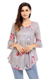 baby doll blouses grounding floral print babydoll top slits tops 3 4