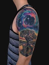 outer space tree half sleeve tattoos