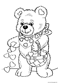 valentines teddy bear coloring pages printable