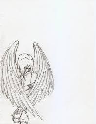 pencil sketches of sad angels