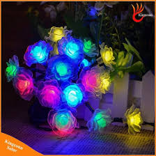 solar powered outdoor string lights china 50 led rose flower decorative solar powered outdoor string