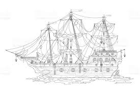 hand drawing cartoon pirate ship coloring coloring book adults