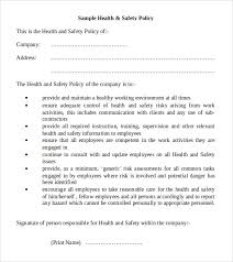 11 health and safety policy templates free sample example format