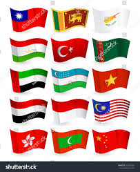 Flying Flag Asia Country Flying Flags Set Part Stock Vector 362088356