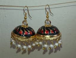lotan earrings gold plated meenakari work lotan dangles jhumka set j0105 j0105