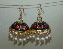 gold plated meenakari work lotan dangles jhumka set j0105 j0105