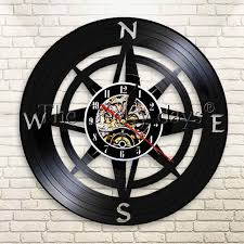themed wall clock 1piece artistic compass themed vinyl wall clock sailor sea