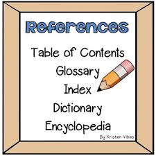 references table of contents glossary index dictionary