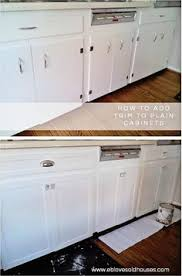Kitchen Cabinet Updates by Inexpensively Update Old Flat Front Cabinets By Adding Trim Paint
