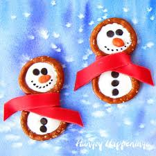 frosty snowman pretzels candy clay scarves