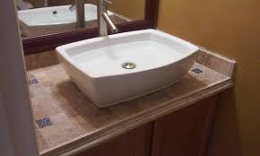 How To Tile A Bathroom Countertop - vanity top tiled u0026 top mounted sink youtube