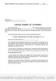 sample printable limited power of attorney form sample real