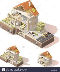 vector isometric low poly house cross section stock vector art
