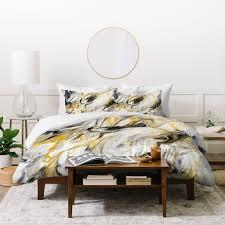 jacqueline maldonado black and gold marble duvet cover deny designs