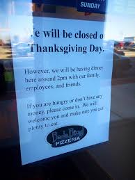pizzeria has the best thanksgiving day message for lonely and hungry