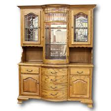 oak china cabinet with etched glass upscale consignment