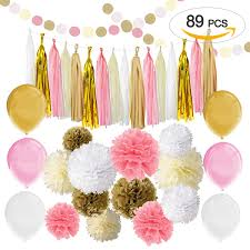 Gold And Pink Party Decorations 89 Pcs Gold Pink Party Decorations Paper Flower Simpzia Official
