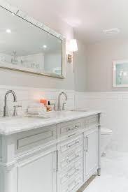 Beveled Mirror Bathroom by White Dual Vanity With Beveled Mirror Transitional Bathroom