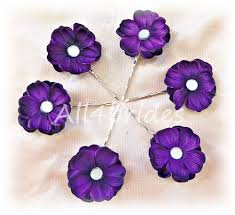 flower hair pins purple hydrangea flower hair pins bridal hair pin set of