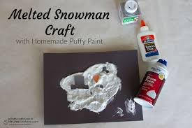 melted snowman craft with homemade puffy paint