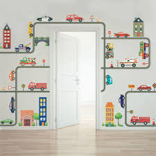 cars wall decals roselawnlutheran busy transportation town wall decals cars trucks ems vehicles plus gray road curved