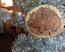 wood pig ornament etsy