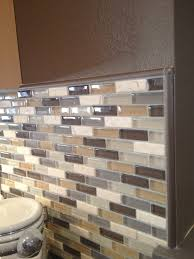 Neutral Kitchen Backsplash Ideas Glass Mosaic Backsplash In Neutral Colors Complete With Schluter