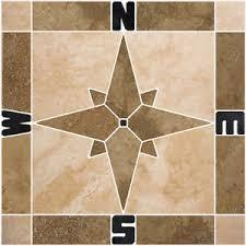 Travertine Compass Rose Mosaic Tile Medallion Backsplash Wall - Medallion tile backsplash