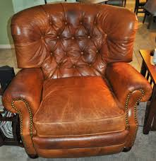 Distress Leather Chair Old Barcalounger Wax Pull Up Leather Chairs