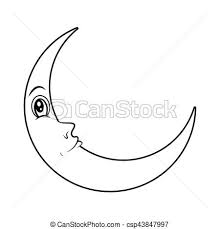 crescent moon with silhouette vector symbol eps