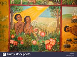 adam and eve naive paintings ethiopian style of biblical stories