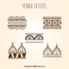henna tattoos set vector free download