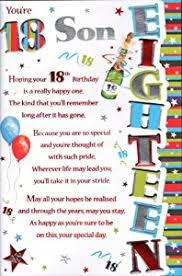 18th birthday son card you u0027re 18 son amazon co uk office products