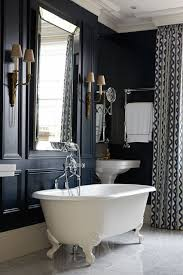 navy blue bathroom blue u0026 white patterned curtains decorating