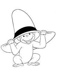 curious george wear big hat coloring netart