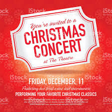 christmas concert ticket invitation design template stock vector