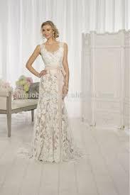 wedding dress sheer straps charming 2014 v neck sheer straps backless sheath lace wedding