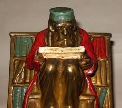 new york library bookends vtg armor bronze co new york scholars reading library polychromed