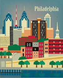Pennsylvania travel style images Philadelphia pennsylvania skyline original art poster print for jpg