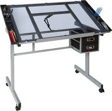 Desk With Drafting Table Zeny Craft Station Rolling Drafting Table Adjustable Drawing Desk