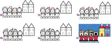 how to draw cute cartoon christmas carolers singing word cartoon