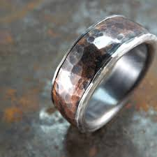 mens rustic wedding bands forged silver copper ring wide rustic ring mens ring copper and