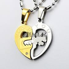 heart lock pendant necklace images Inlaid stainless steel heart lock key four leaf clover heart jpg