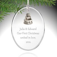 personalized wedding ornament glass wedding ornament