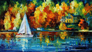 house of the lake u2014 palette knife oil painting on canvas by leonid