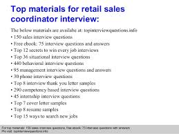 retail sales coordinator interview questions and answers