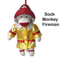sock monkey company fireman sock monkey ornament